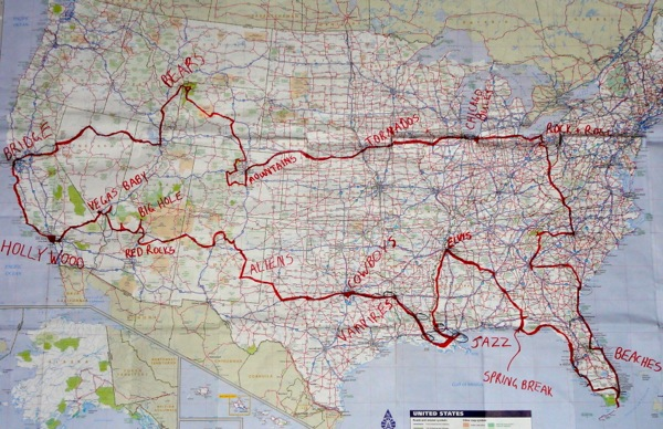 Our 12,000 mile USA road trip - OUR MAP 600px