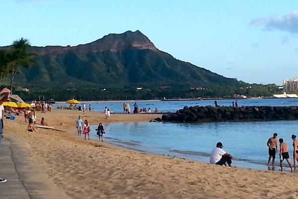 Climbing to the top of Diamond Head in Honolulu Oahu Hawaii - From Beach