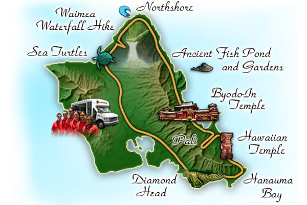 See Oahu in a Day with the Ultimate Circle Island Eco Adventure - Map