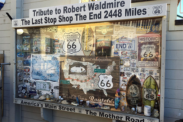 Route 66 - Getting Our Kicks - Display at Santa Monica Beach