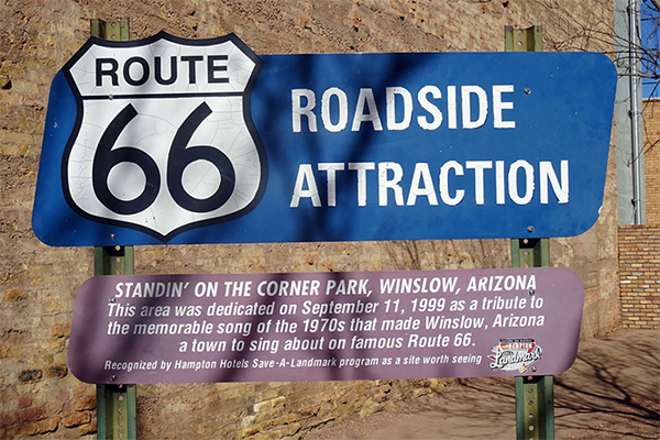 Route 66 - Getting Our Kicks - Tourist sign in Winslow