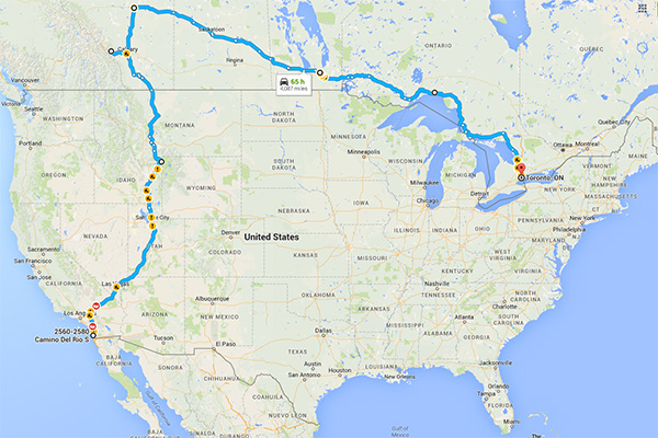 We're going on another Road Trip! San Diego to Toronto - Map